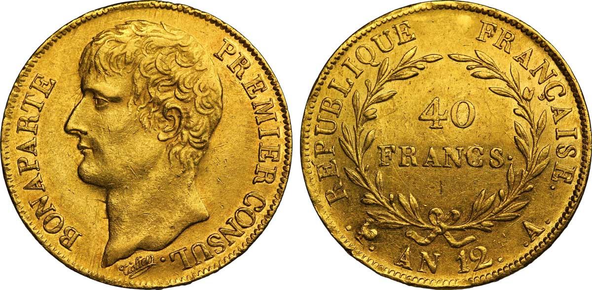 Novac iskovan u vreme kada je Napoleon postao konzul (1803.-1804.)